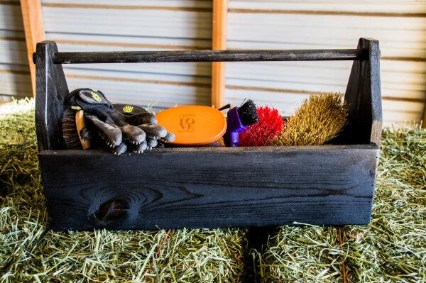 DIY wooden grooming tote